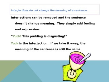 Interjections Powerpoint Presentation for Common Core Language Objective