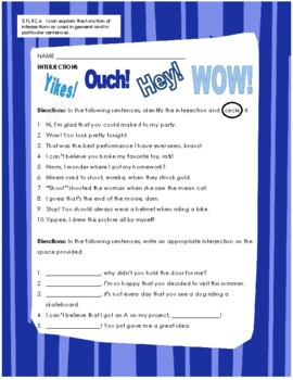 Interjections Worksheets | Teachers Pay Teachers