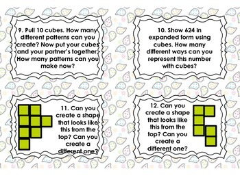 Math Stations: Interlocking Cube Task Cards