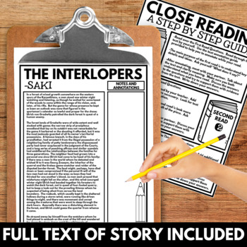 Interlopers by Saki Short Story Questions, Project, and Close Reading Resources