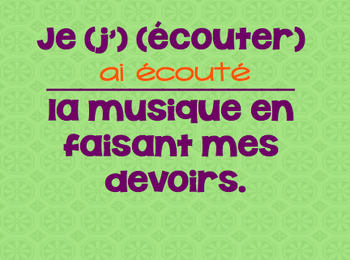 Intermediate/Advanced French PASSE COMPOSE powerpoint (+avant/après in the past)