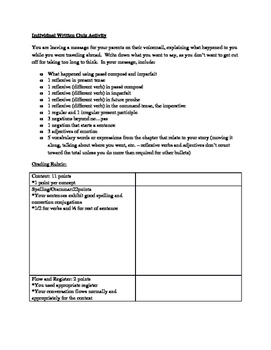 Intermediate-Advanced Summative Assessment - writing a past story