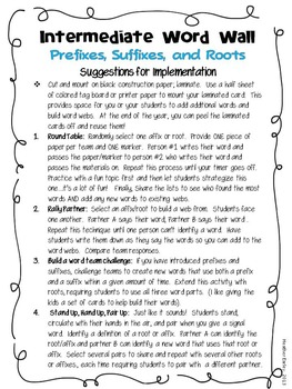 Word Wall with Prefixes, Suffixes, and Roots +10 Bonus word wall ideas