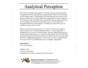 Intermediate Analytical Perception - Part / Whole Relationships Lesson Set 6