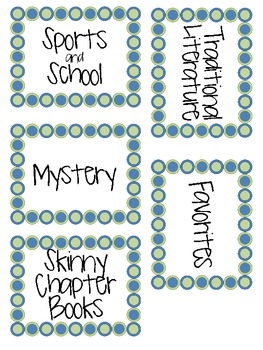 Intermediate Classroom Library Labels Set
