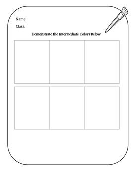 Intermediate Colors Worksheet
