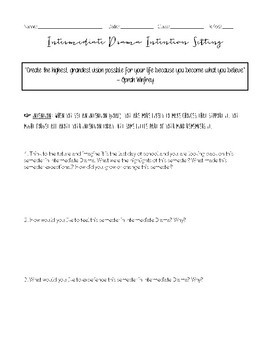 Intermediate Drama Intention Setting Worksheet