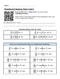 Intermediate Fraction Skills Worksheets, grades 3-5,  lessons in Math Antics