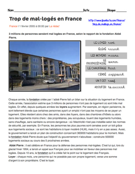Intermediate French Scaffolded Reading: LOW INCOME HOUSING