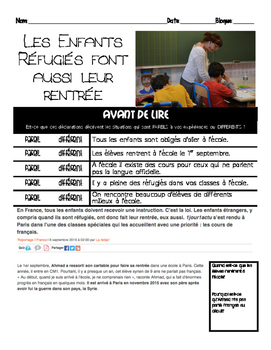Intermediate French Scaffolded Reading: REFUGEES BACK TO SCHOOL