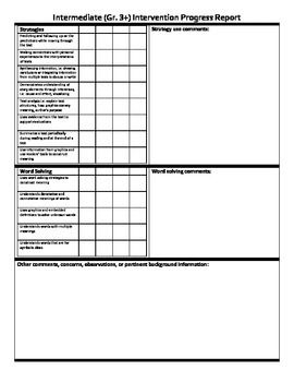 Intermediate Gr. 3+ Reading Intervention Report