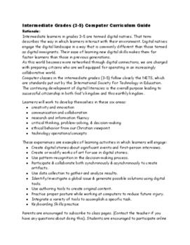 Intermediate Grades 3-5 Computer Curriculum Guide