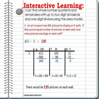 Intermediate Interactive Math Notebook Area Model Division