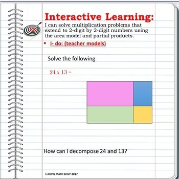Intermediate Interactive Math Notebook Area Model and Partial Products