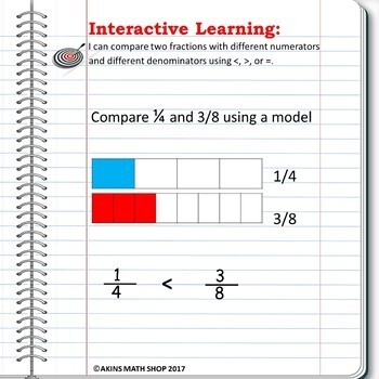 Intermediate Interactive Math Notebook Comparing Fractions