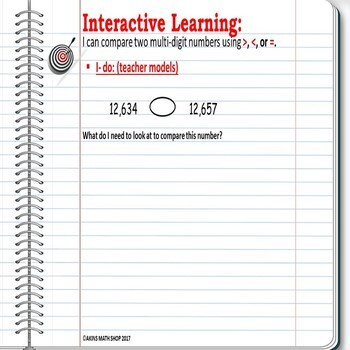 Intermediate Interactive Math Notebook Comparing Numbers