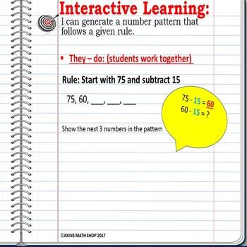 Intermediate Interactive Math Notebook Generate a Number Pattern