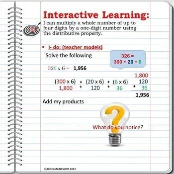Intermediate Interactive Notebook Distributive Property Multiplication