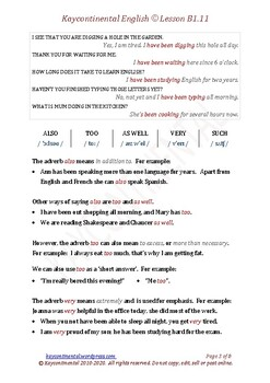 B1.11 - Present Perfect Continuous