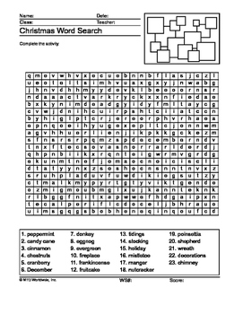Intermediate Level Christmas Word Search Printable