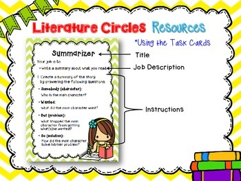 Intermediate Literature Circles Task Cards