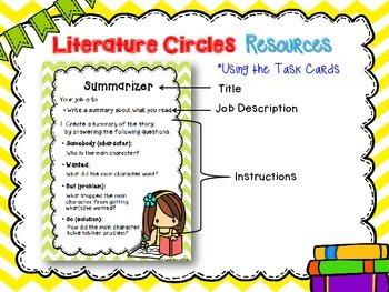 Intermediate Literature Circles Task Cards & Worksheets Bundle