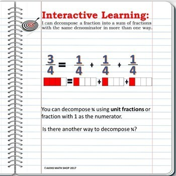 Intermediate Math Interactive Notebook Decomposing Fractions