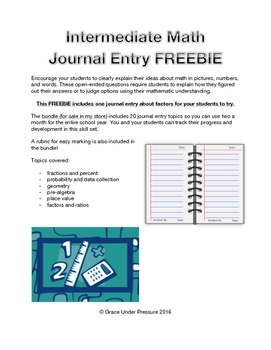Intermediate Math Journal: Freebie