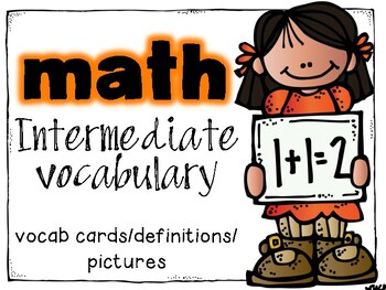 Intermediate Math Vocabulary- Word Wall Cards with Definitions