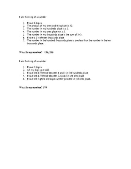 Intermediate Number Riddles! Grades 3, 4, and 5
