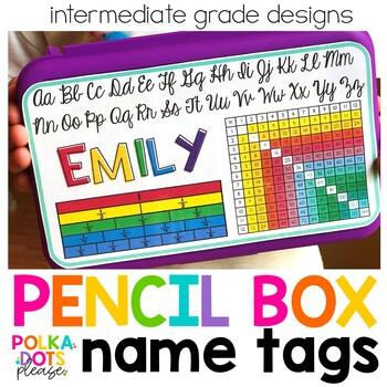 Intermediate Pencil Box Name Tags - English & Spanish