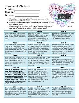Intermediate Reading Homework Choice Board