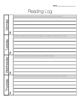 Intermediate Reading Log