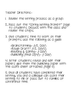 Intermediate Spring Writing Assessment
