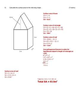 Intermediate Surface Area and Volume Quiz with Answer Key