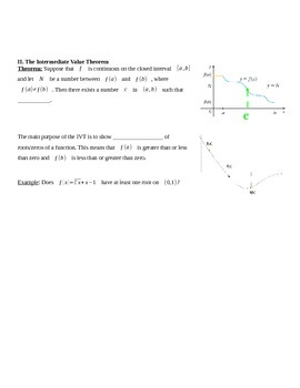 Intermediate Value Theorem Notes
