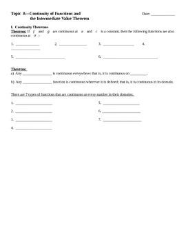Intermediate Value Theorem Notes
