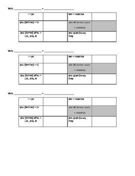 Intermediate Verb Conjugation Practice Chart