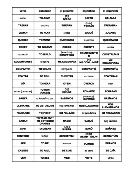 Spanish: Intermediate Verb Conjugation Practice Chart with ANSWER KEY