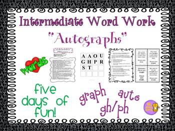 "Word Work and Vocabulary 5-Day Intermediate Unit ""AUTOGRAPHS"""