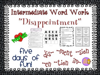 "Word Work and Vocabulary 5-Day Intermediate Unit ""DISAPPOINTMENT"""