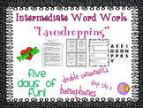 """Word Work and Vocabulary 5-Day Intermediate Unit """"EAVESDROPPING"""""""