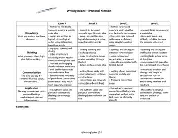 Intermediate Writing Rubric: Personal Memoir (Recount)