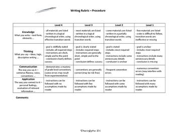 Intermediate Writing Rubric: Procedure