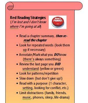Intermediate to Hard Reading Strategies - Bookmarks