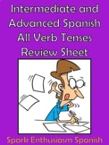 Intermediate/Advanced Spanish All Verb Tenses Review Sheet (8 pages)