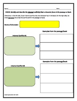 Internal Conflict Character Template: Grades 4-8