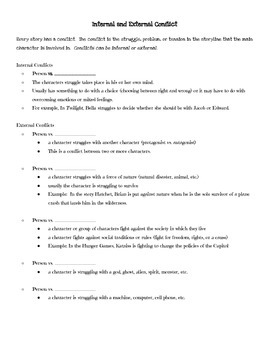 Internal and External Conflict-Scaffolded Notes