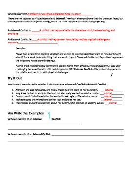 Internal and External Conflict Worksheet and Graphic Organizer