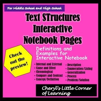 Internal and External Text Structures Interactive Notebook